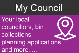 Purple image saying 'My Council' - click to view information on local councillors, bin collections, planning applications and more