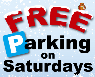 A festive themed image saying 'free parking on saturdays' for free parking on every saturday in december