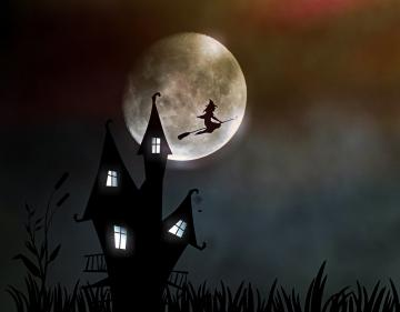 Illustration of a witch, the moon and a spooky house